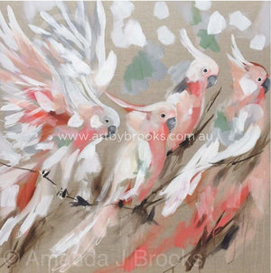 Pink Plumage - Original On Linen 90 X90 Cm Originals