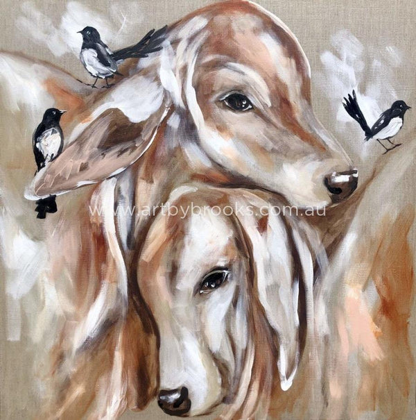Poddy Calves And Willy Wagtails - Art Print Art