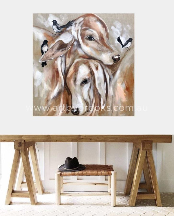 Poddy Calves And Willy Wagtails - Original On Belgian Linen 90X90 Cm Original