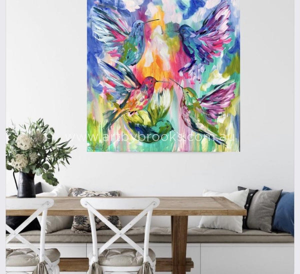 Precious Wings - Original On Belgian Linen 90X90Cm Medium Sized Originals