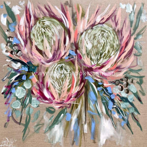 Protea And Fragrant Gum -Art Print Art