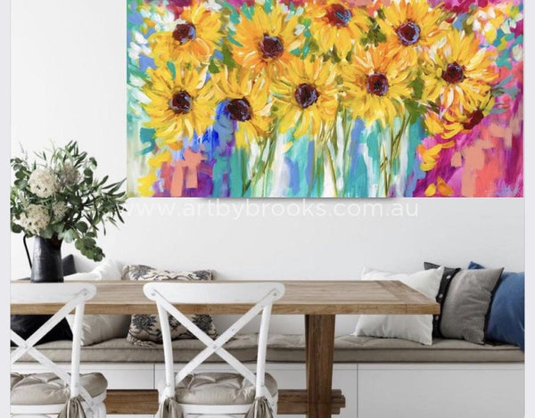 Rays Of Sunshine - Sunflowers Original On Linen 75X150 Cm Medium Sized Originals
