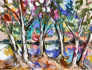 River Gum Creek -Original On Canvas 90X120 Cm Medium Sized Originals