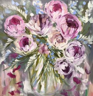 Romance Peony And Forget Me Nots - Art Print Art
