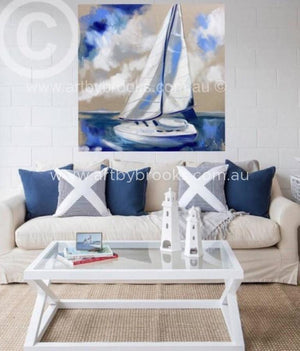 Sail Away - Original On Belgian Linen 90X90Cm Originals