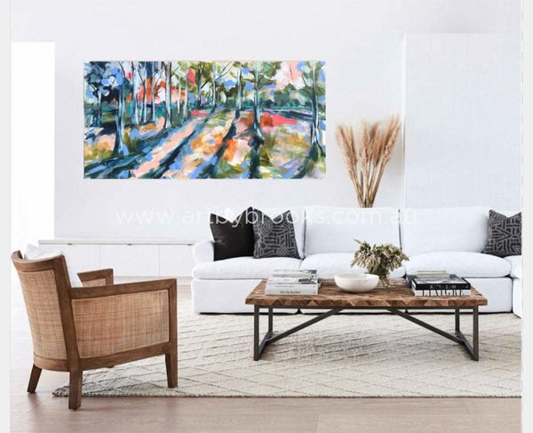 Shadowing Australian Gums - Original On Canvas 75X150 Cm Original