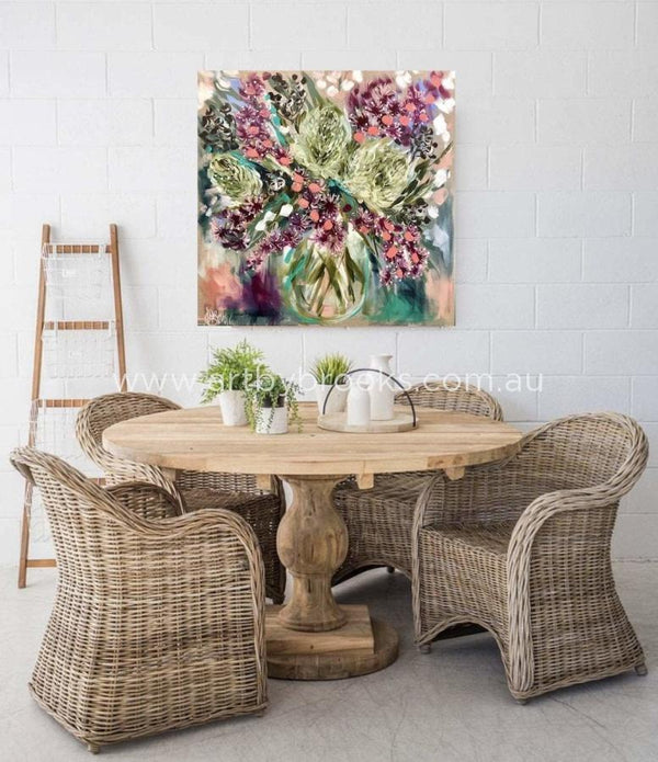 Silver Banksia And Blush Natives - Original On Belgian Linen 90X90Cm Originals