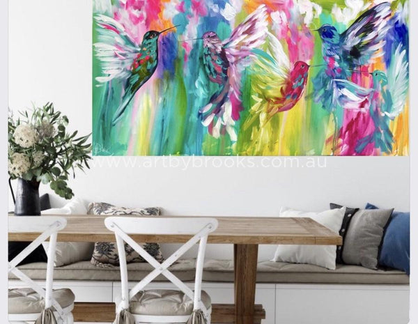 Silver Lining Hummingbirds - Original On Canvas 75X150 Cm Medium Sized Originals