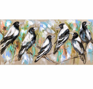 Six Magpies Singing -Art Print Print