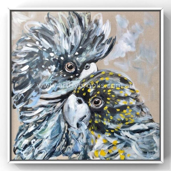Soul Mate Cockatoos -Original On Belgian Linen 90X90 Cm Medium Sized Originals