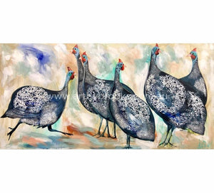 Speckled Guinea Fowl -Original On Canvas 75X150 Originals