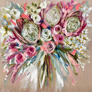 Spray Roses And Protea -Art Print Art