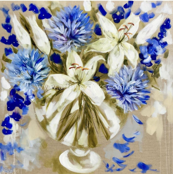 Spring Lily And Agapanthus -Art Print Art