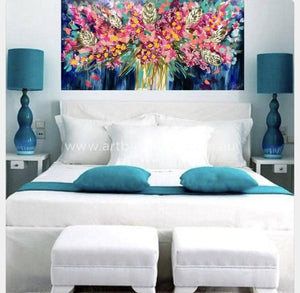 Starburst Eucalyptus - Original On Canvas 75 X150 Cm Originals