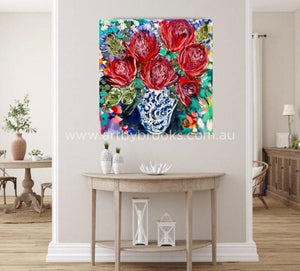 Starburst Waratah And Banksia -Original On Canvas 90X90 Cm Medium Sized Originals