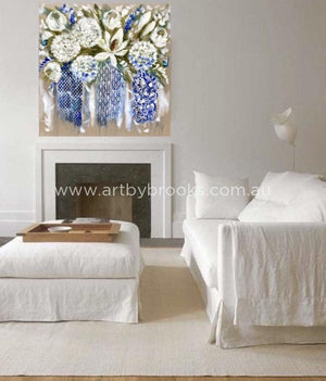 Summer Hamptons Arrangement - Original On Belgian Linen 120X120Cm Originals