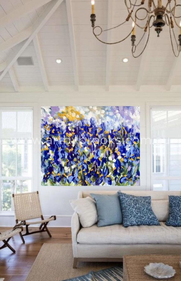 Sunlit Iris - Original On Canvas 120X150 Cm Medium Sized Originals