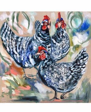 Three French Hens -Art Print Art