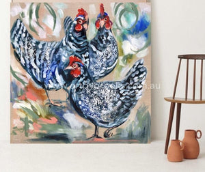 Three French Hens - Original On Belgian Linen 90X90Cm Originals