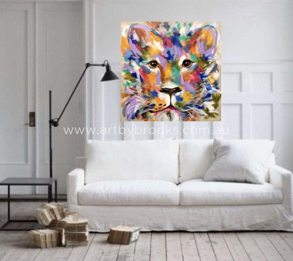 True Gold -Original On Belgian Linen 90 X90 Cm Originals