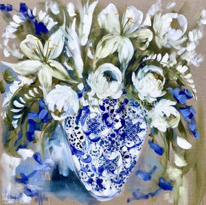 Tulip And Lily Bouquet - Original On Belgian Linen 90X90Cm Original
