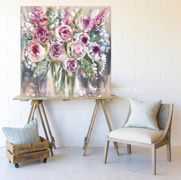 Vintage Blooms And Blue Wrens -Original On Belgian Linen 120 X120 Cm Original