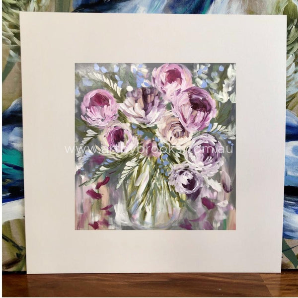Vintage Peony And Forget Me Nots - Matte Board Print Art