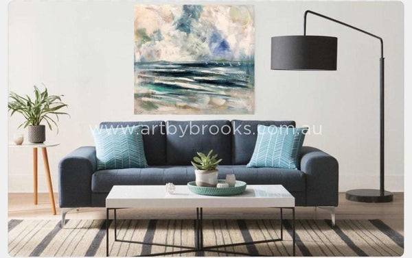 Waves Roll In - Original On Canvas 110X120 Cm Originals