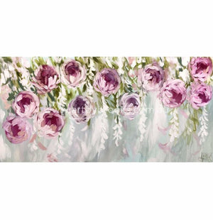Whispering Wisteria And Peony - 75X150 Cm Original On Canvas Original