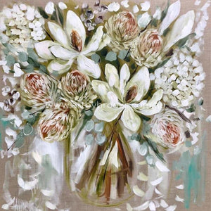 White Magnolia And Banksia - Art Print Art