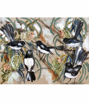 Willy Wagtails And Banksia - Art Print Art Prints