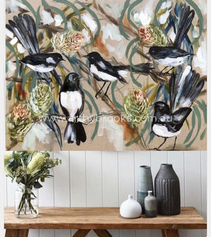 Willy Wagtails And Banksia -Original On Belgian Linen 75 X100Cm Originals