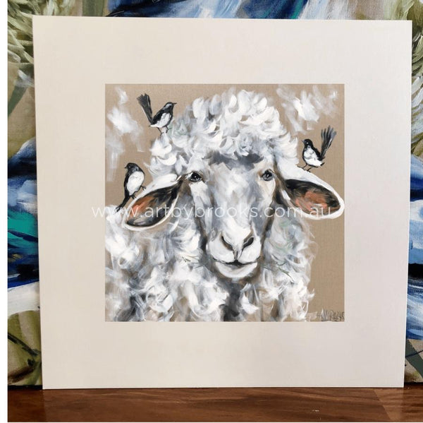 Woollie Sheep And Wagtails - Matte Board Print Art
