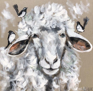 Wooly Sheep And Willy Wagtails - Art Print Art