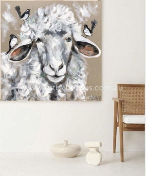 Wooly Sheep And Willy Wagtails - Original On Belgian Linen 90X90 Cm Original