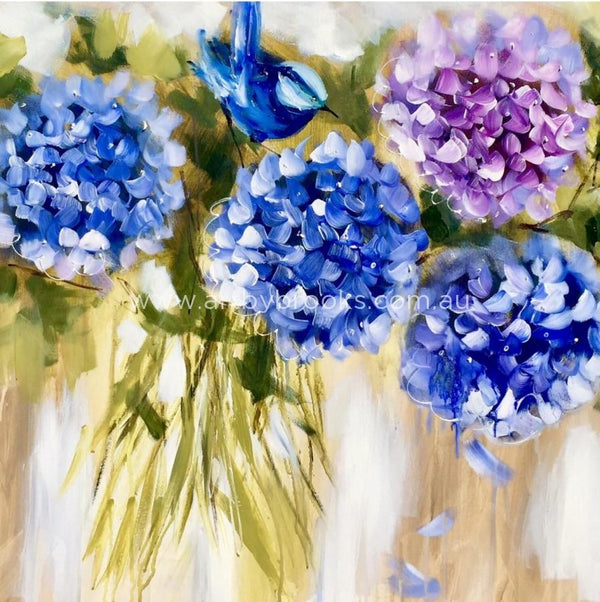 Wren And Hydrangeas - Art Print Art