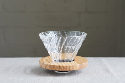 Hario V60 Glass Dripper Olive Wood Base 1-4 Person Dripper Hario