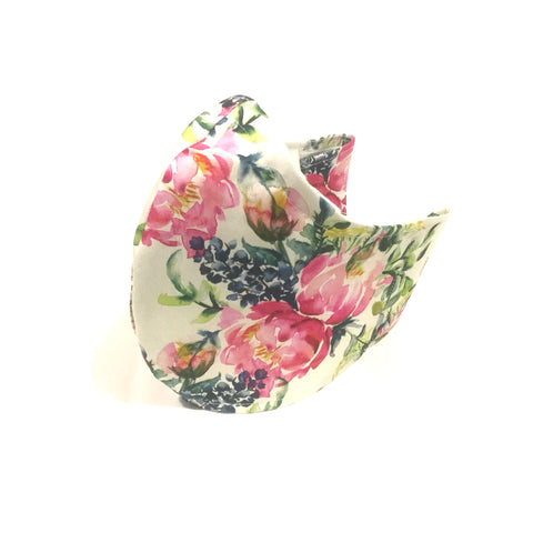 Medium Adult Fabric Face Mask - White Floral
