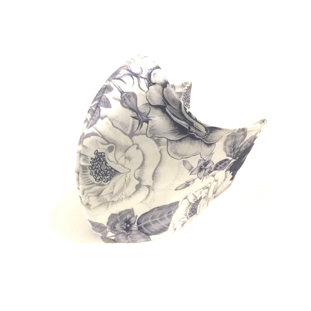 Medium Adult Fabric Face Mask - White and Navy Floral