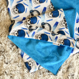Mucky Duck white blue skulls cotton minky pram blanket