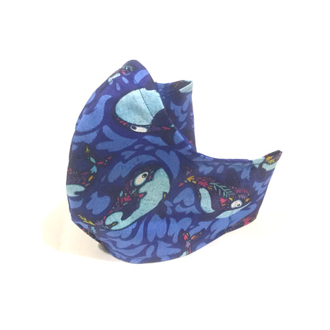 Medium Adult Fabric Face Mask - Whales
