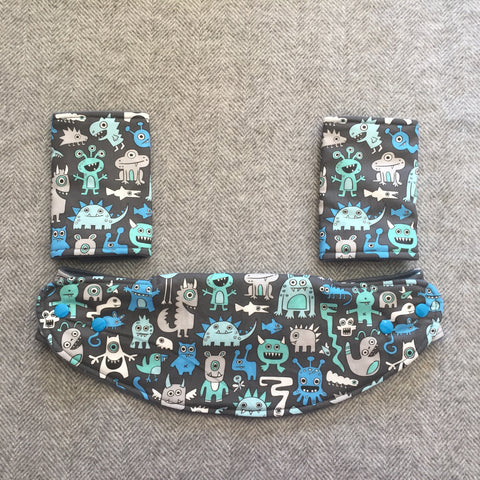 Mucky Duck grey blue aqua monsters lillebaby baby carrier strap protectors
