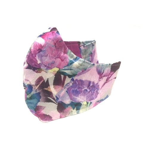 Medium Adult Fabric Face Mask - Pink and Purple Floral