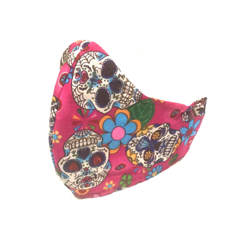 Mucky duck craft medium adult sized triple layer cotton face mask with pocket for filter and head ties  in bright pink skulls