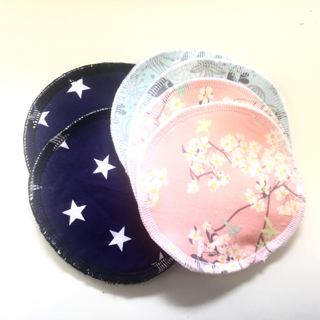 Mucky Duck navy white stars blue birds blush flowers floral nursing breast pads