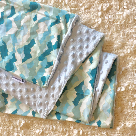 Mucky Duck green blue mountains cotton minky pram blanket