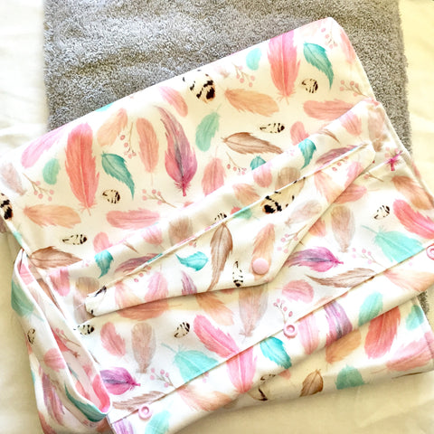 Mucky Duck pastel feathers boho nappy wallet and change mat set