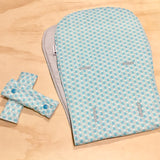 Mucky Duck mint green grey and white geometric I candy strawberry pram liner