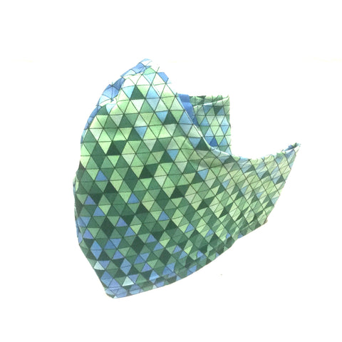 Large Adult Fabric Face Mask - Blue Green Geometric