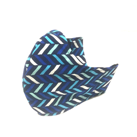 Large Adult Fabric Face Mask - Blue Aqua Mint Chevrons